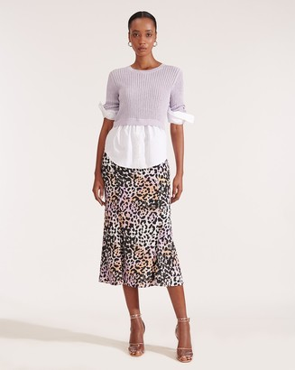 Veronica Beard Diane Watercolor Leopard Skirt