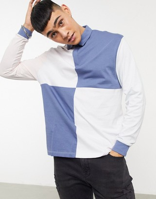 ASOS DESIGN organic relaxed long sleeve rugby polo shirt in color block