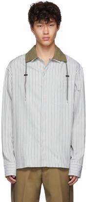 Lanvin Grey Drawstring Striped Shirt