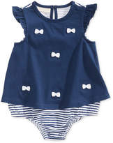 First Impressions Bows & Stripes Cotton Skirted Romper, Baby Girls, Created for Macy's