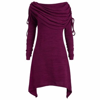 Kalorywee Winter Sale Clearance 2018 Plus Size Womens Fashion Solid Ruched Long Foldover Collar Tunic Top Blouse Tops Purple