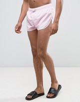 Asos Swim Shorts With Extreme Side Splits In Pastel Pink Super Short Length