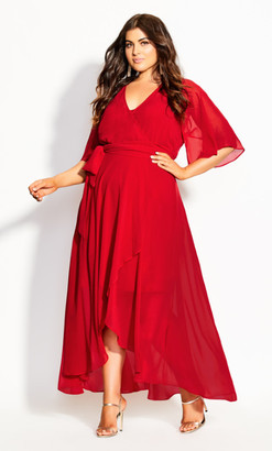 City Chic Enthral Me Maxi Dress - love red