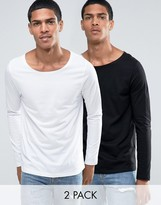 Asos Long Sleeve T-Shirt With Boat Neck 2 Pack