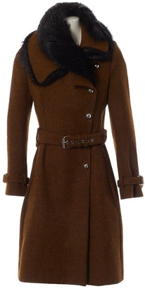 Bouchra Jarrar Brown Wool Coat for Women