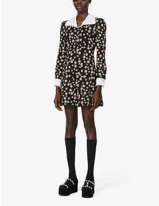 Miu Miu Floral-print stretch-knit mini dress