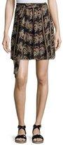Etoile Isabel Marant Sistle Printed Silk Wrap Skirt, Black