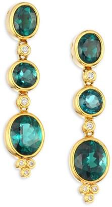 Temple St. Clair High 18K Yellow Gold, Blue/Green Tourmaline & Diamond Triple Drop Earrings