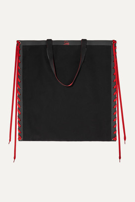 Christian Louboutin Cablace Lace-up Leather-trimmed Canvas Tote - Black