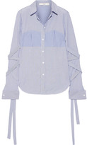 Tibi Striped Cotton-poplin Shirt - Blue