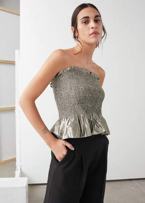 And other stories Smocked Metallic Strapless Top