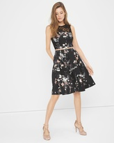 White House Black Market Floral-Print Fit-And-Flare Dress