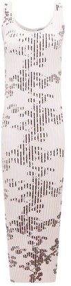 Paco Rabanne Floral-print Ribbed Stretch-cotton Column Dress - Light Pink