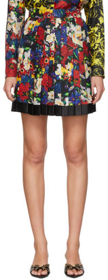 Versace SSENSE Exclusive Multicolor Silk Floral Mini Pleated Skirt