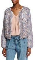 Joie Jodi Floral-Print Silk Bomber Jacket, Vintage Petal