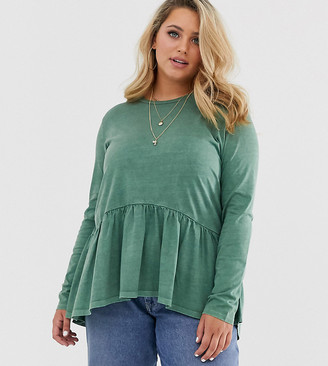 Asos DESIGN Curve smock top with long sleeve in wash