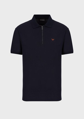 Emporio Armani Mercerised Pique, Zipped Polo Shirt
