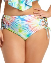 Trendy Plus Size Tie Dye Tankini Top & Ruched Side Bikini Bottoms, Created For Macy's