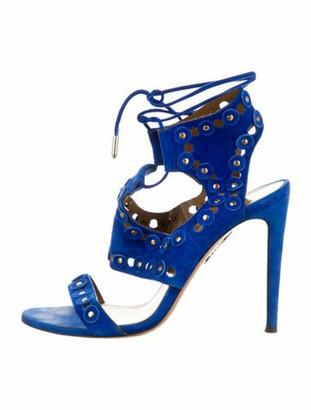 Aquazzura Suede Lasercut Accents Sandals Blue