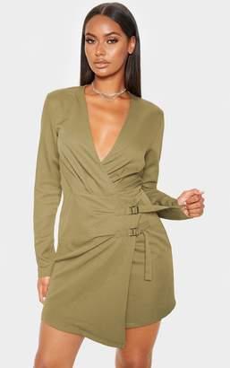 PrettyLittleThing Khaki Buckle Detail Wrap Bodycon Dress