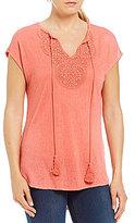 Bobeau Short Sleeve Solid Crochet Detail Knit Top
