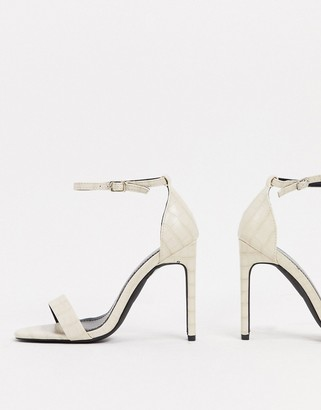 Glamorous barely there sandals with set back heel in off white croc