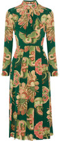 Gucci Pleated Printed Silk Crepe De Chine Midi Dress - Green