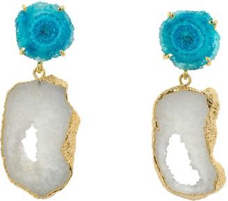 Yaa Yaa London 'Summer Love' Blue White Crystal Gemstone Gold Earrings