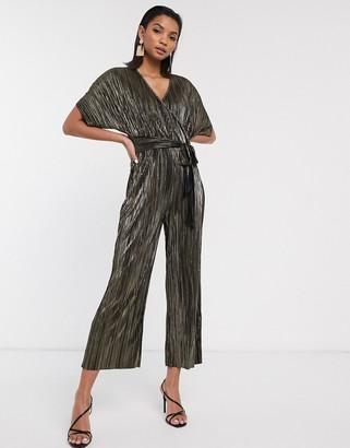 ASOS DESIGN wrap tie jumpsuit in metallic plisse