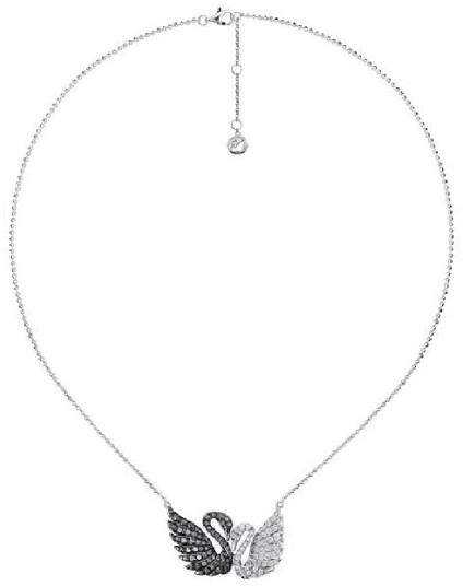 Swarovski 18K White Gold Black and White Diamond Double Swans Necklace