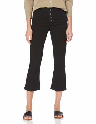 Dorothy Perkins Women's Black Crop Kick Flare Jeans
