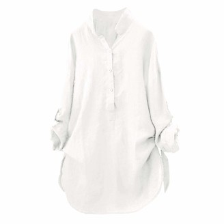 Lazzboy Womens Blouse Long Sleeve Cotton Solid Stand Collar Loose Oversized Button Shirt Tunic Tops(M(10)