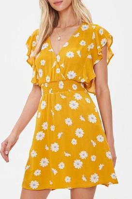 Forever 21 Floral Print Mini Surplice Dress