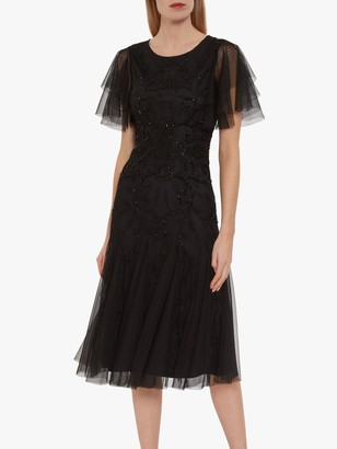 Gina Bacconi Ciela Beaded Midi Dress, Black