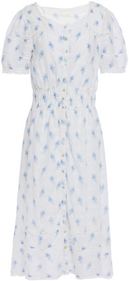 LoveShackFancy Sandy Lace-trimmed Floral-print Cotton-voile Midi Dress
