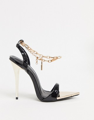 Public Desire Triumph heeled sandals with padlock anklet in black
