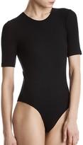 ATM Anthony Thomas Melillo Rib-Knit Short Sleeve Bodysuit