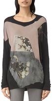 AllSaints Belle Wave Floral Print Tunic Tee