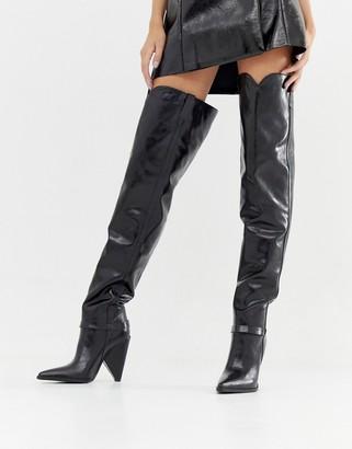 Lamoda black cone heel over the knee boots