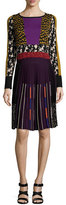 Etro Pleated Intarsia-Knit Long-Sleeve Dress, Gold/Purple