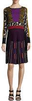 Etro Pleated Intarsia-Knit Long-Sleeve Dress, Gold/Purple