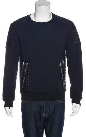 Balmain Lambskin-Trimmed Zip-Accented Sweatshirt