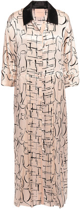 Roksanda Pleated Printed Silk-satin Midi Shirt Dress
