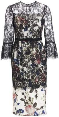 Erdem Luceila Floral Lace-Overlay Pencil Dress