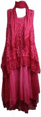 Xpaccessories Italian Womens Ladies Layered Lagenlook Crochet & Lace Panels 3 Piece Top Dress Light Green UK 14