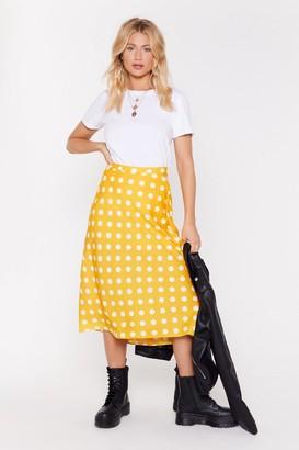 Nasty Gal Womens Got the Spots For You Bias Cut Midi Skirt - yellow - L