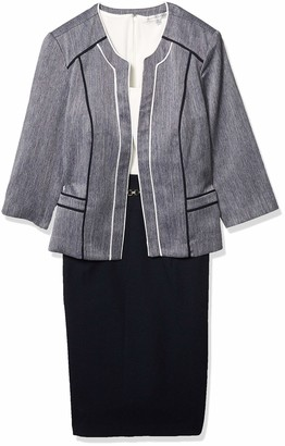 Sandra Darren Women's 2 Pc Denim Crepe 3/4 Sleeve Jacket Dress Set