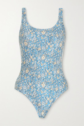 Zimmermann Carnaby Floral-print Swimsuit - Light blue