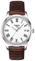 Tissot T0334101601301 Classic Dream Date Leather Strap Watch, Brown/white