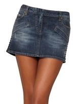 Balmain Faux Leather Trim Denim Mini Skirt